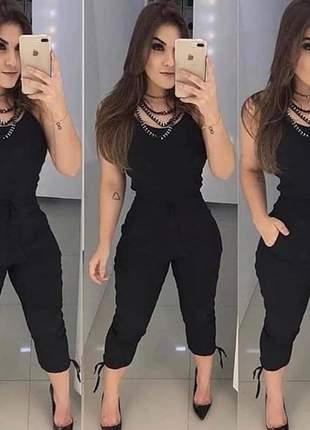 Macacão feminino jogger alça preto moda