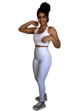 Conjunto fitness | calça legging branca feminina e top academia com forro