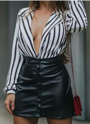 Body blazer decote aberto listrado feminino