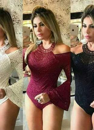 Body renda manga flare lindo moda feminina