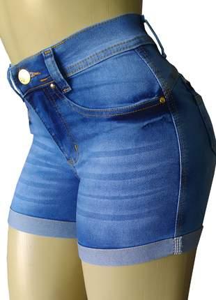 Shorts cós alto jeans hot pants elastano