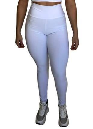 Calça legging branca feminina fitness antibacteriana e hidratação aloe vera