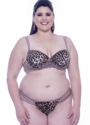 Conjunto lingerie plus size com estampa oncinha