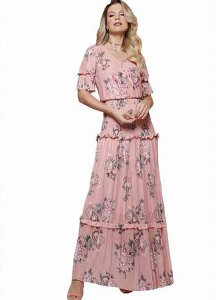 Vestido longo evangélico feminino babados fascinius moda