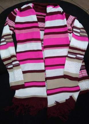 Cardigã feminino tricot com detalhe de cachecol blusa aberta