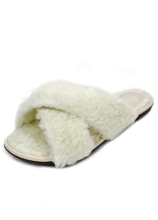 Homewear slide dali shoes angel pêlo carneirinho offwhite