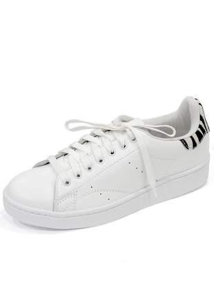 Tênis couro dali shoes paolla com cadarço branco