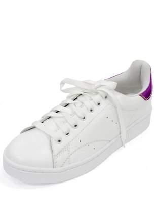 Tênis couro dali shoes alegra com cadarço branco com detalhe pink