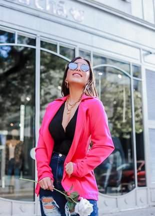 Maxi blazer feminino neoprene pink