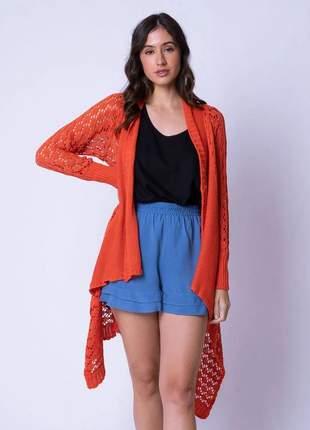 Casaco tricot alongado rendado