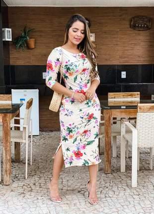 Vestido midi floral suplex