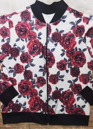 Jaqueta feminina estampada plus size