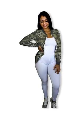 Jaqueta bomber feminina camuflada verde militar