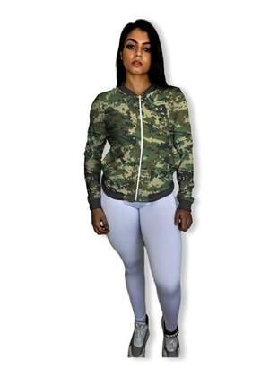 Jaqueta bomber feminina fitness camuflada exército