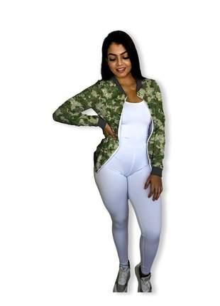 Jaqueta bomber feminina camuflada brilhante fitness e passeio