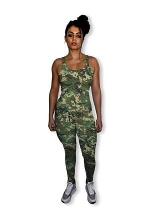 Macacão fitness feminino longo camuflado lindíssimo e delicioso de usar