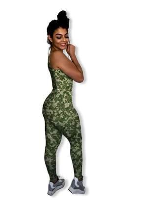 Macacão feminino longo fitness camuflado de academia tecido maravilhoso ao toque