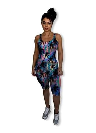 Lindíssimo e confortável macacão curto midi feminino fitness tecido hidratante aloe vera
