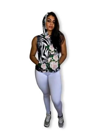Regata fitness feminina estampada dry fit bolso e capuz ioga pilates academia
