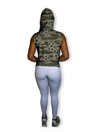 Incrível regata feminina para academia ioga pilates crossfit dry fit floral verde militar