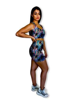 Conjunto fitness feminino shorts e top de academia tecido hidratante aloe vera