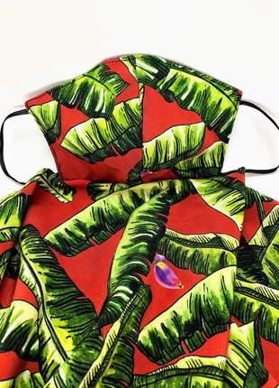 Máscara echarpe 2 em 1 em tecido crepe de seda pura tropical bananeira