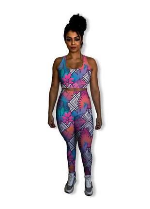 Conjunto fitness | calça legging feminina e top academia com forro | antibacteriano