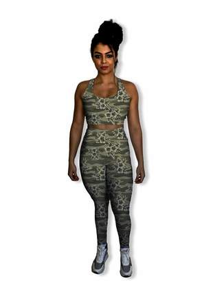 Conjunto fitness feminino calça legging camuflada e top academia antibacteriano