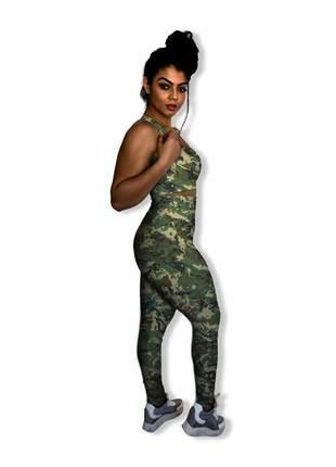 Conjunto camuflado fitness feminino c calça legging e top para academia tecnológico