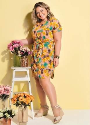 Vestido com faixa e amarração floral plus size
