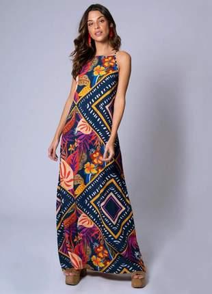 Vestido longo estampa abela