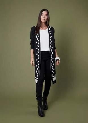 Casaco tricot barra geométrica
