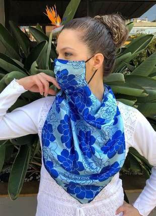 Máscara echarpe 2 em 1 em tecido cetim floral tons de azul