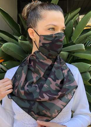 Máscara echarpe 2 em 1 em tecido crepe chiffon camuflado militar