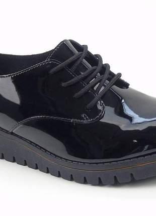 Sapato oxford feminino 4174 419 beira rio verniz preto