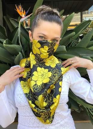 Máscara echarpe 2 em 1 em tecido cetim floral amarelo e preto
