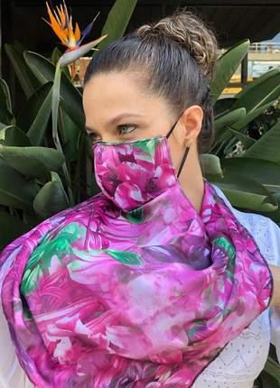Máscara echarpe 2 em 1 em tecido chiffon acetinado rosa pink