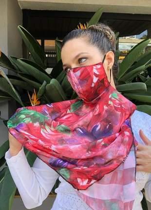 Máscara echarpe 2 em 1 em tecido crepe chiffon acetinado vermelho