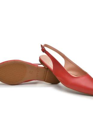 Mule sapatilha sapato bico fino feminina vermelha