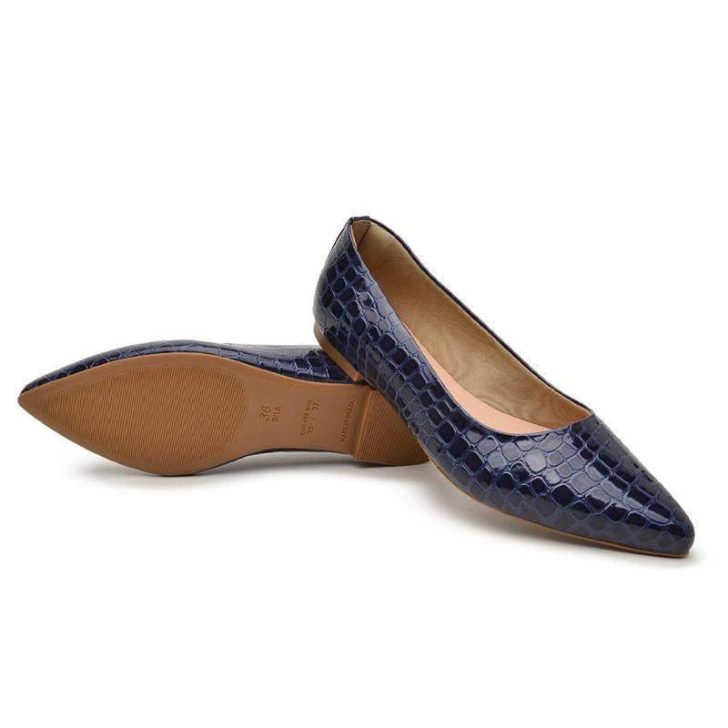 BERGALLY / Sapatilha azul social bico fino confortável baixa escamada