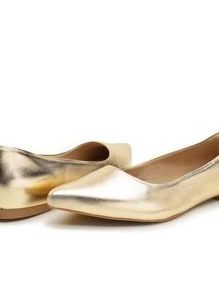 Sapatilha sapato bico fino social dourado metalizado