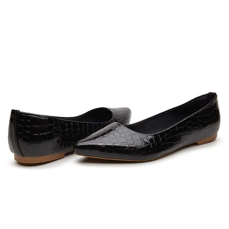 BERGALLY / Sapatilha sapato social preto escamada