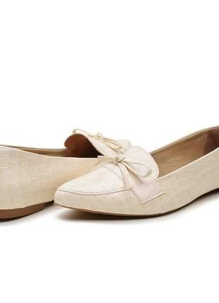 Sapatilha branca escamada sapato social de laço dia a dia