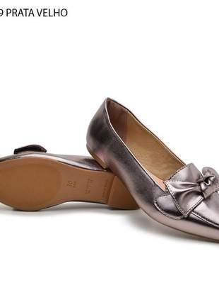 Sapatilha sapato feminino prata envelhecida lançamento 2020