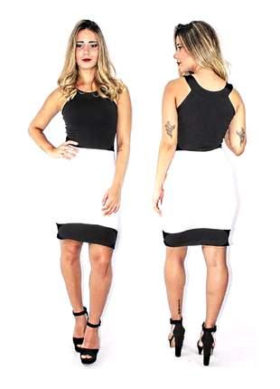 Vestido feminino social preto e branco moda elegante festa pronta entrega