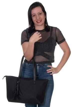 Bolsa sacola de ombro feminina metalassê preto