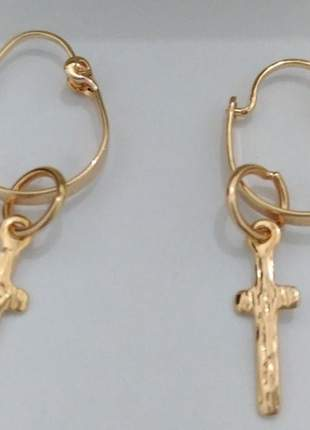 Brinco de argola cruz banhado a ouro 18k rommanel original
