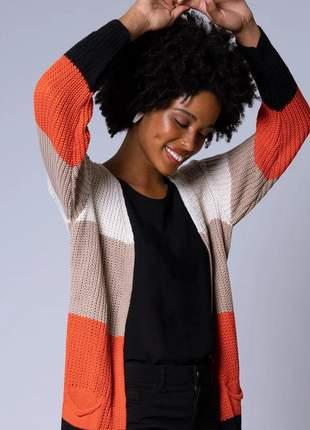 Casaco tricot multicolor