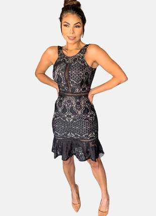 Vestido de festa curto renda premium moda evangelica preto