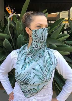 Máscara echarpe 2 em 1 em tecido crepe chiffon floresta verde